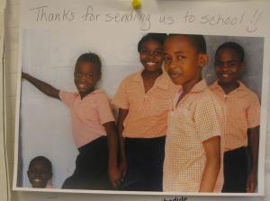Students whom Erin's class put into school in Haiti by purchasing uniforms through our fundraising with their foundation Grade 5 Can