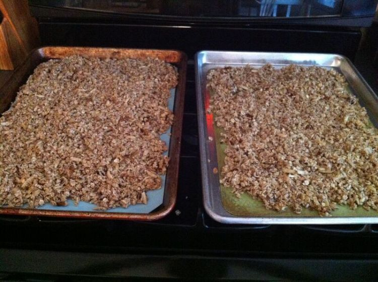 Granola spread evenly on 2 baking sheets